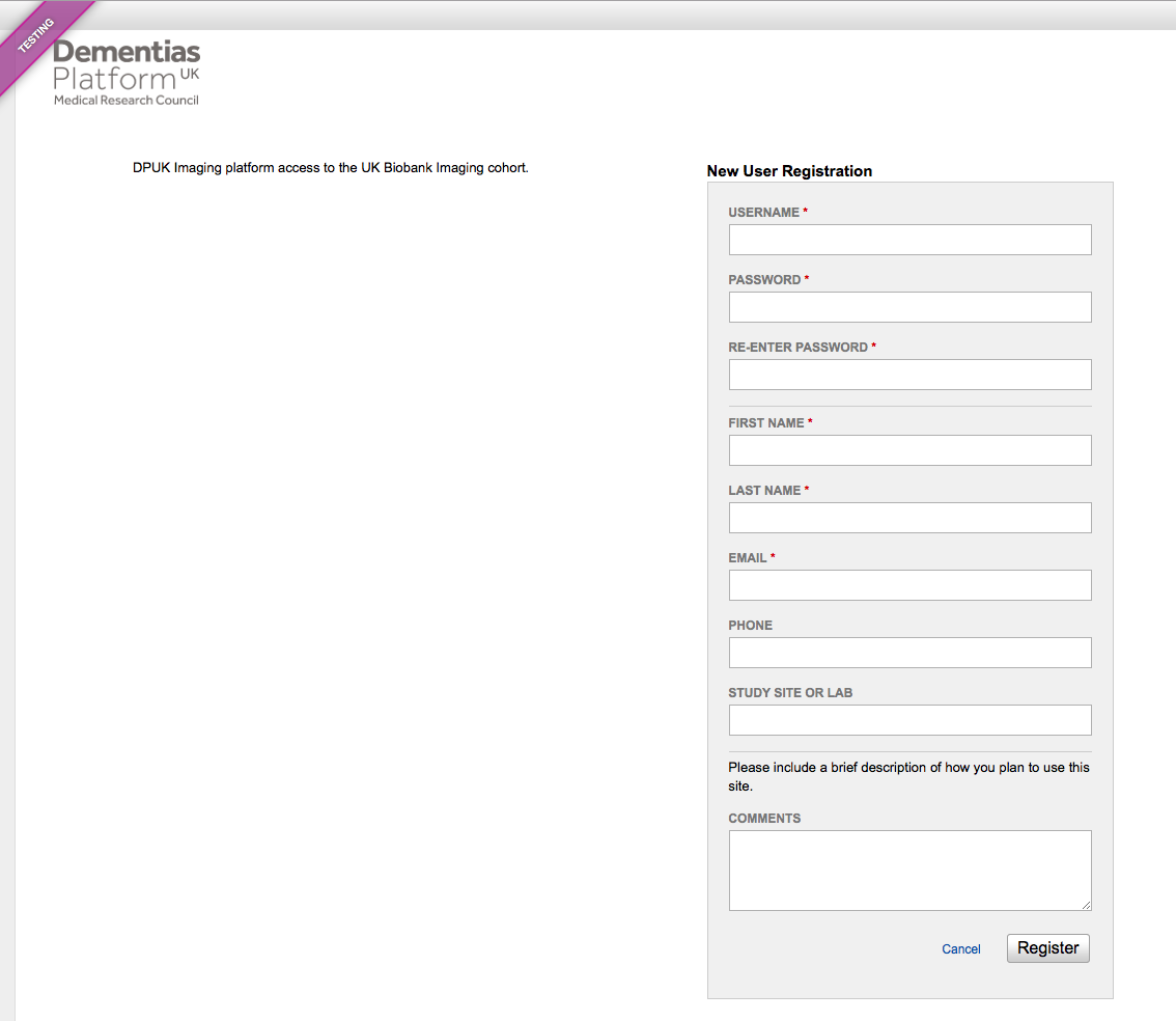 User registration page
